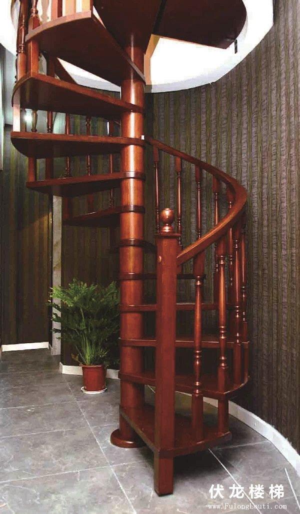 【产品7】实木整体旋转楼梯-复式阁楼楼梯