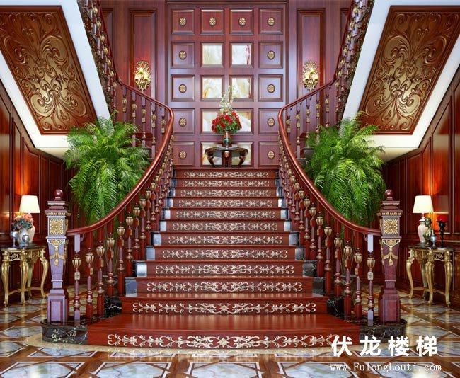 【产品21】雕花描金整体实木楼梯
