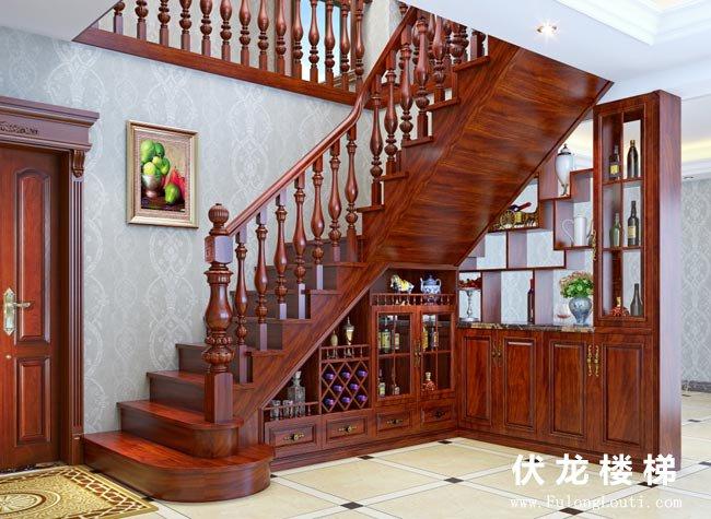 【产品24】别墅整装实木楼梯+整体酒柜