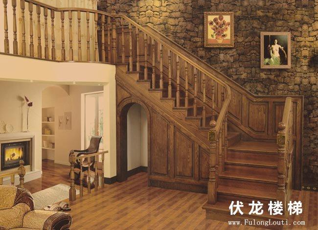 【产品22】仿古风格整体实木楼梯