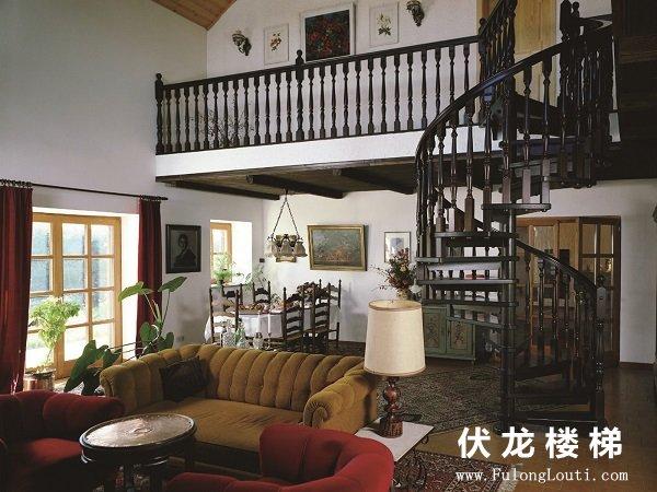 【产品8】实木整体旋转楼梯-复式阁楼楼梯+护栏栏杆