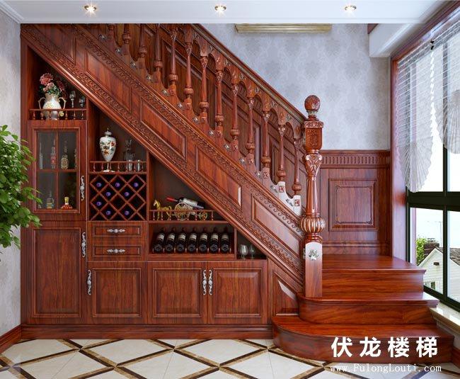 【产品6】实木整体楼梯+酒柜+