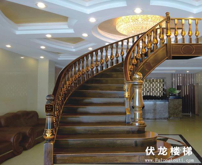 【产品7】弧形楼梯扶手-实木整体楼梯