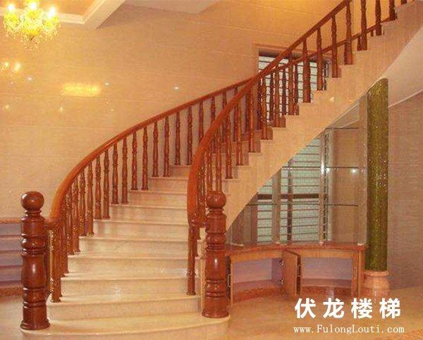 【产品9】悬浮弧形实木楼梯扶手